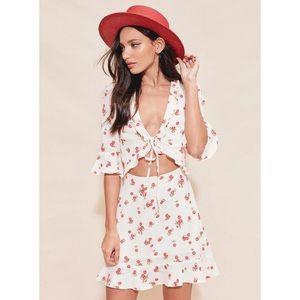 For Love & Lemons Cherry Sundress Cream Cherry XS